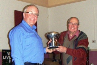 Dave Kent (Club Champion 2013-14) receiving Trophy from Tony Hopkin